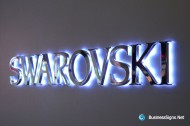 3D LED Backlit Signs With Mirror Polished Stainless Steel Letter Shell & 10mm Thickness Acrylic Back-panel For Swarovski