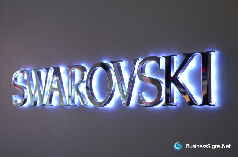 3D LED Backlit Signs With Mirror Polished Stainless Steel Letter Shell And 10mm Thickness Acrylic Back-panel For Swarovski