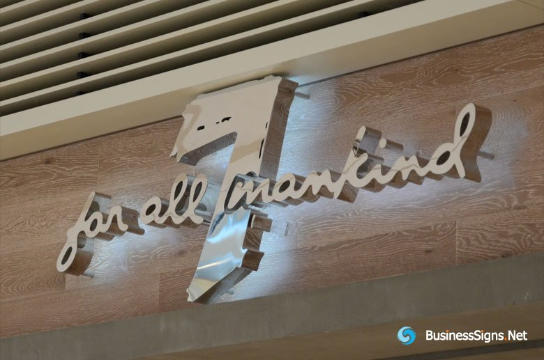 3D LED Backlit Signs With Mirror Stainless Steel Letter Shell For 7 For All Mankind