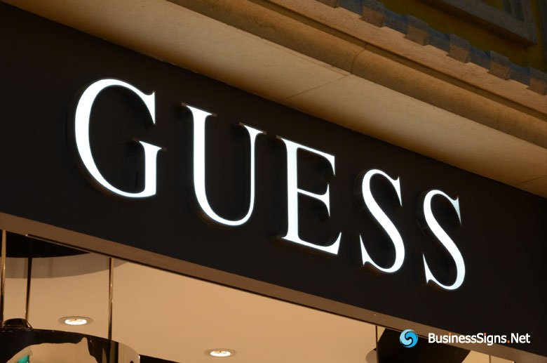 3D LED Front-lit Signs With Mirror Polished Stainless Steel Letter Shell For Guess