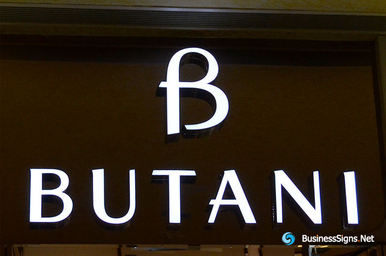 3D LED Front-lit Signs With Painted Stainless Steel Letter Shell For Butani