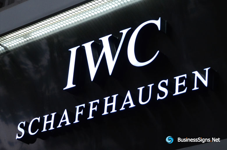 3D LED Front-lit Signs With Painted Stainless Steel Letter Shell For IWC