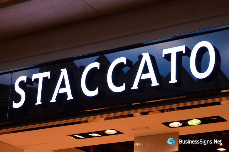 3D LED Front-lit Signs With Painted Stainless Steel Letter Shell For STACCATO