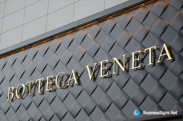 3D Mirror Polished Gold Plated Signs For Bottega Veneta