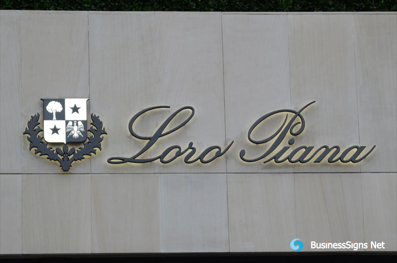 3D LED Backlit Signs With Painted Stainless Steel Letter Shell For Loro Piana