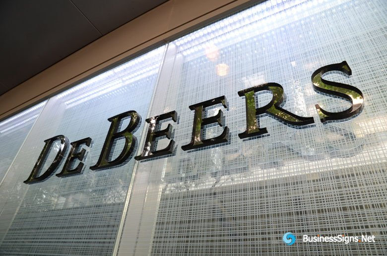 3D Laser Cutting Clear Acrylic Letters With Painted Border For De Beers