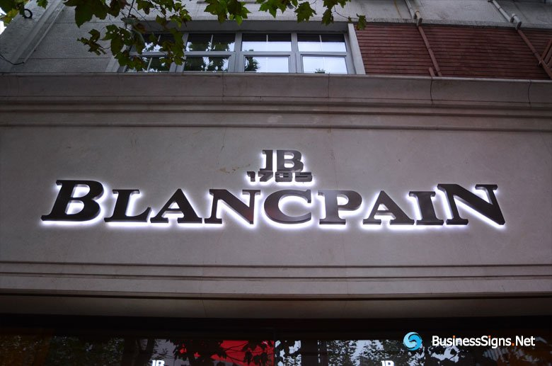 3D LED Backlit Signs With Brushed Titanium Plated Letter Shell For Blancpain