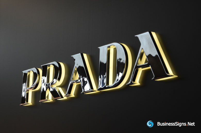 3D LED Backlit Signs With Mirror Polished Stainless Steel Letter Shell & 20mm Thickness Acrylic Back Panel For Prada