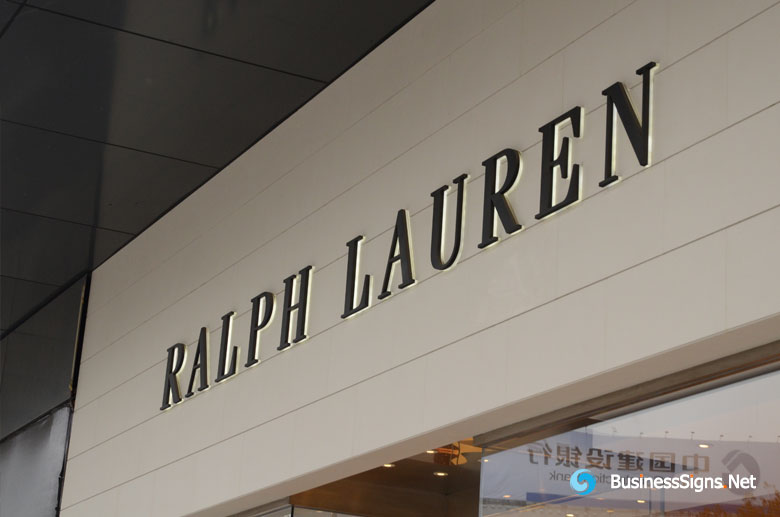 3D LED Backlit Signs With Painted Stainless Steel Letter Shell & 20mm Thickness Acrylic Back Panel For Ralph Lauren