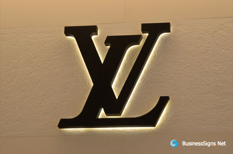 3D LED Backlit Signs With Painted Stainless Steel Letter Shell For Louis Vuitton