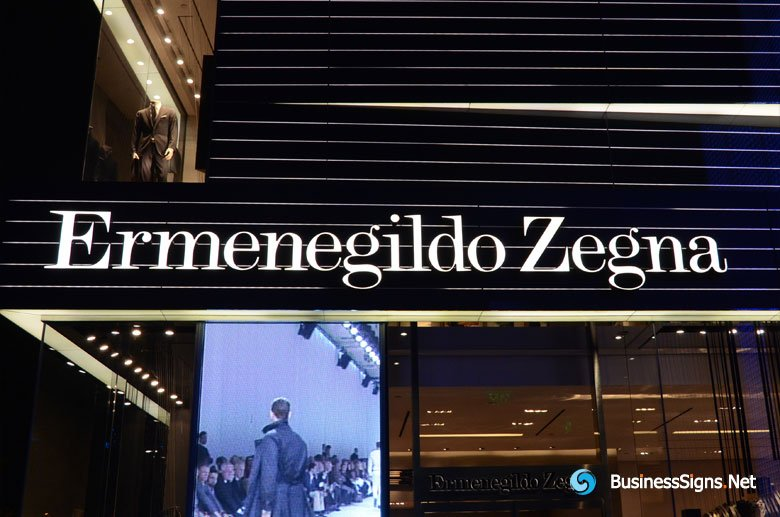 3D LED Front-lit Signs With Mirror Polished Stainless Steel Letter Shell For Ermenegildo Zegna