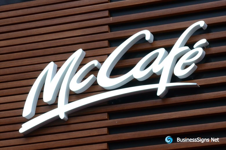 3D LED Front-lit Signs With Painted Stainless Steel Letter Shell For McCafé