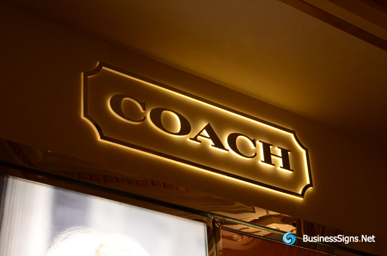 3D LED Side-lit Signs With Mirror Polished Gold Plated Front-panel For Coach