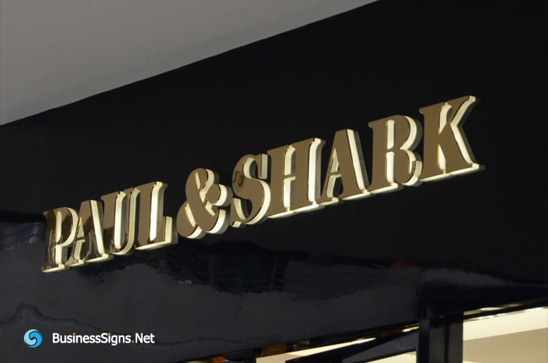3D LED Side-lit Signs With Mirror Polished Gold Plated Front-panel For Paul & Shark