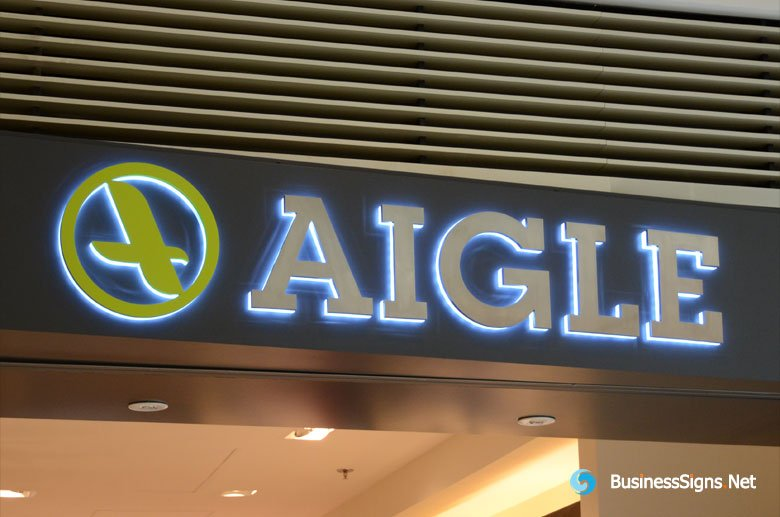 3D LED Backlit Signs With Brushed Stainless Steel Letter Shell & 20mm Thickness Acrylic Back Panel For Aigle