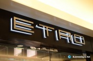 3D LED Backlit Signs With Mirror Polished Stainless Steel Letter Shell & 20mm Thickness Acrylic Back Panel For Etro