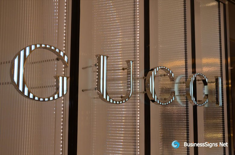 3D LED Front-lit Signs With Mirror Polished Stainless Steel Letter Shell For Gucci