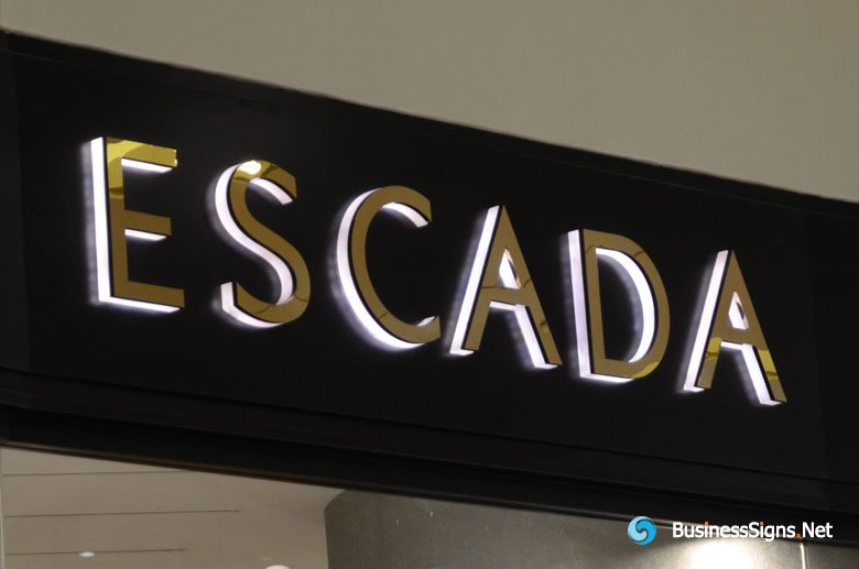 3D LED Side-lit Signs With Mirror Polished Gold Plated Front-panel For Escada