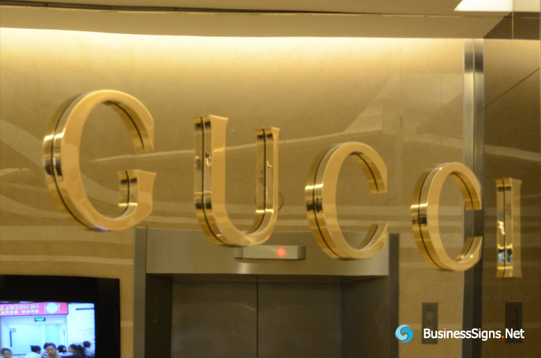 3D Mirror Polished Gold Plated Signs For Gucci