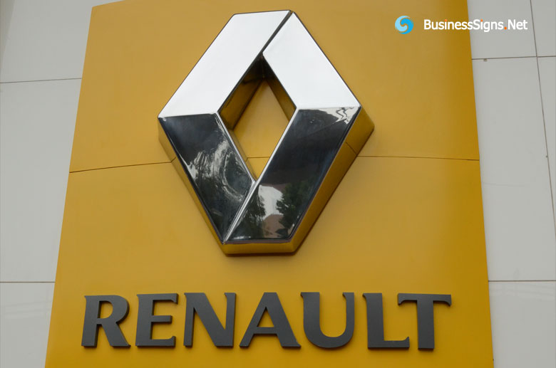 3D Fabricated Stainless Steel Signage For Renault