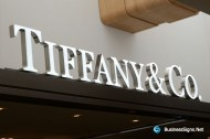 3D LED Front-lit Signs With Brushed Stainless Steel Letter Shell And 10mm Thickness Acrylic Front Panel For Tiffany & Co.