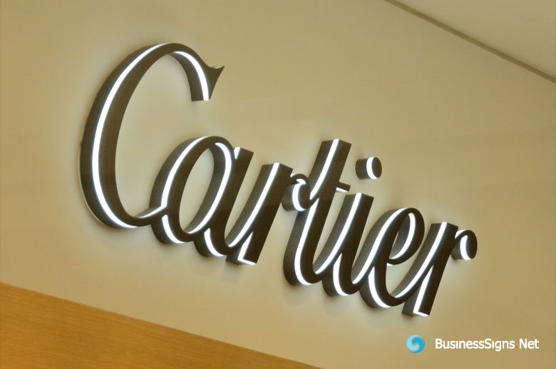 3D LED Side-lit Signs With Fabricated Painted Stainless Steel Front Panel For Cartier