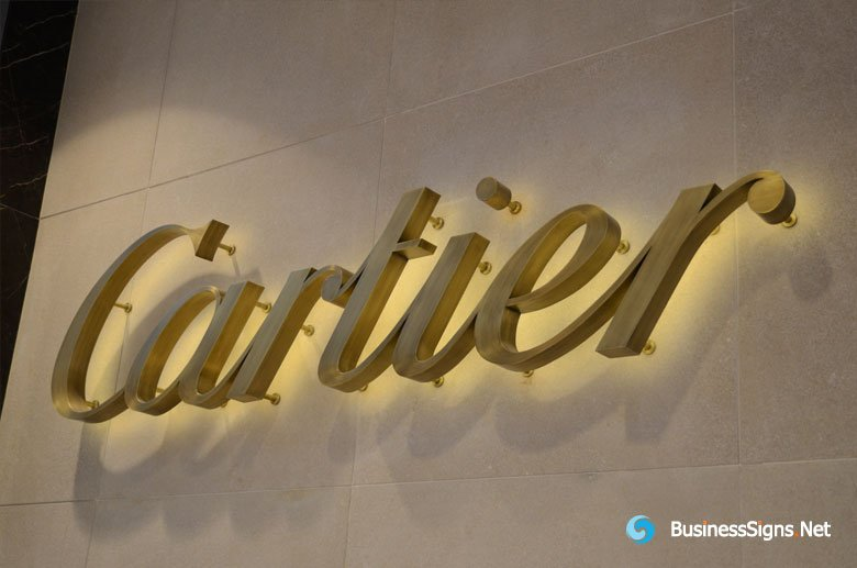 3D LED Backlit Signs With Brushed Brass Letter Shell For Cartier