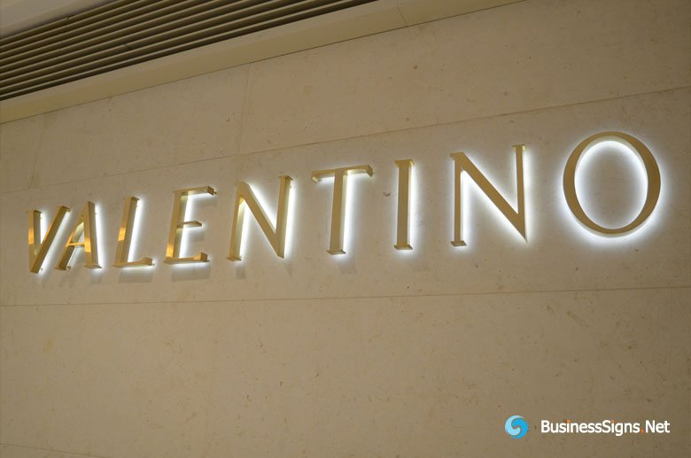 3d Led Backlit Signs With Brushed Gold Plated Letter Shell