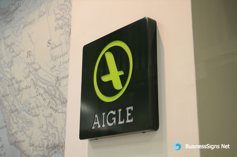 3D Single-sided LED Front-lit Lightbox Signs With Painted Stainless Steel Shell For AIGLE