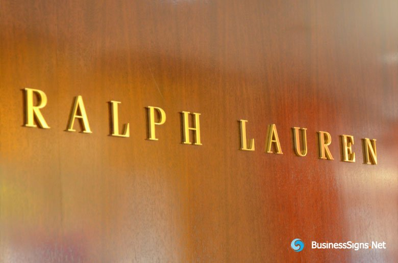 3D Fabricated Mirror Polished Gold Plated Signs For Ralph Lauren