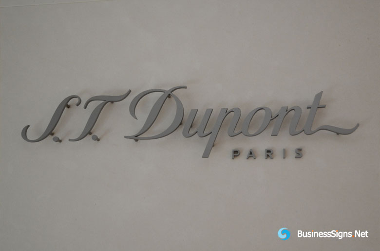 3D Fabricated Painted Stainless Steel Signs For S.T. Dupont