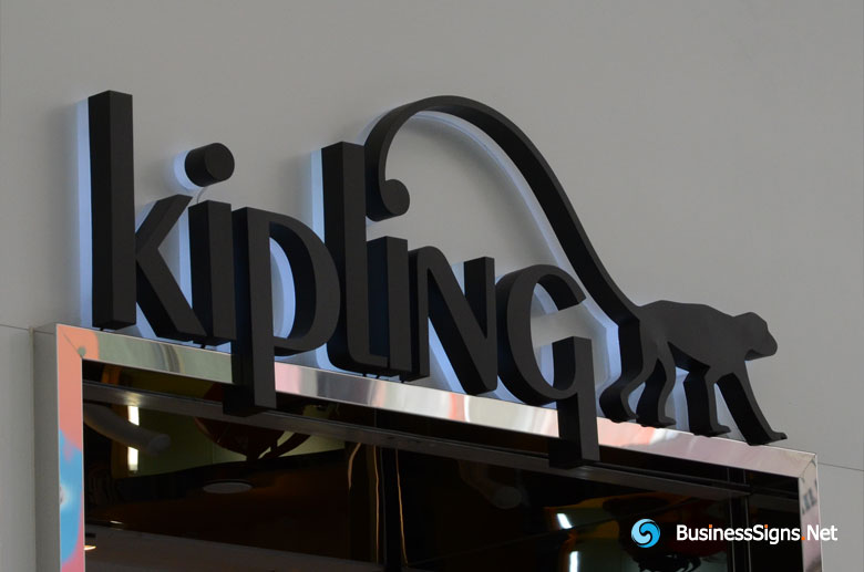 3D LED Backlit Signs With Painted Stainless Steel Letter Shell & 20mm Thickness Acrylic Back Panel For Kipling