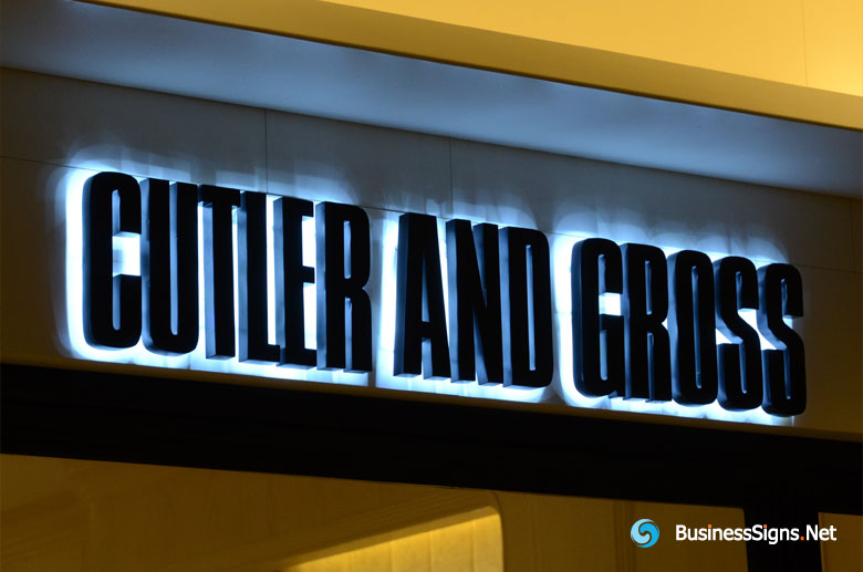 3D LED Backlit Signs With Painted Stainless Steel Letter Shell For Cutler and Gross