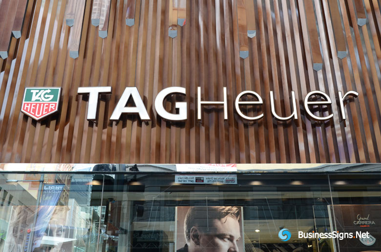 3D LED Front-lit Signs With Brushed Rose Gold Plated Letter Shell For TAG Heuer