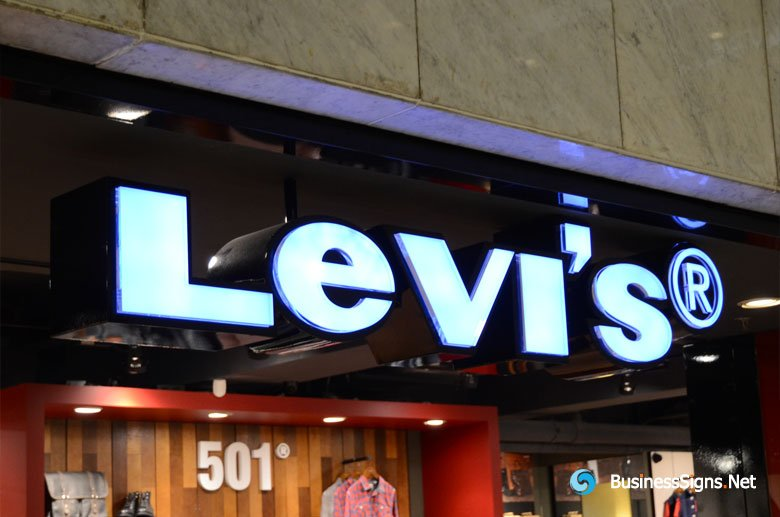 3D LED Front-lit Signs With Painted Stainless Steel Letter Shell & 20mm Thickness Acrylic Front-panel For Levi's