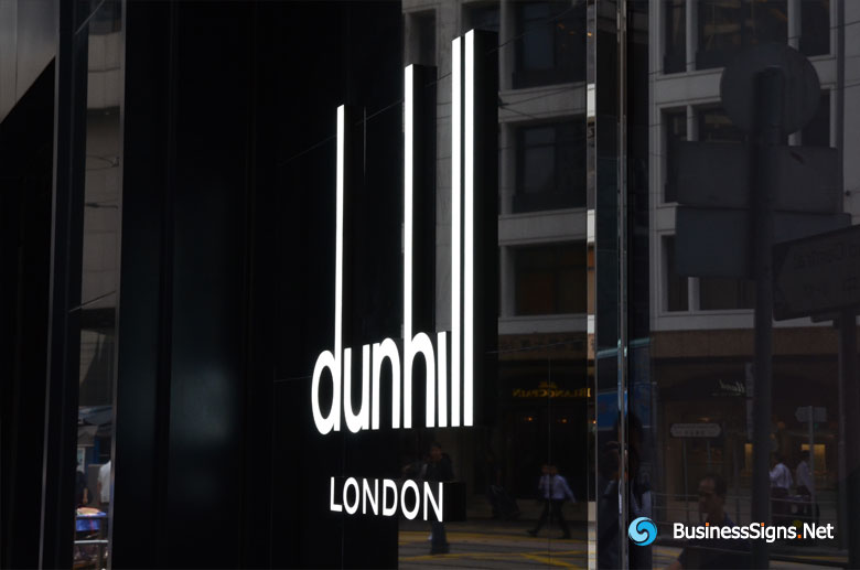 3D LED Front-lit Signs With Painted Stainless Steel Letter Shell For Dunhill