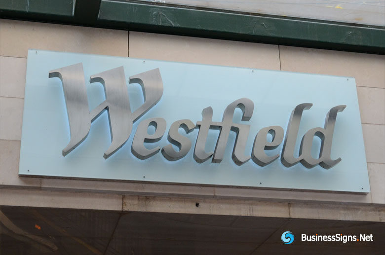 3D LED Backlit Signs With Brushed Stainless Steel Letter Shell For Westfield