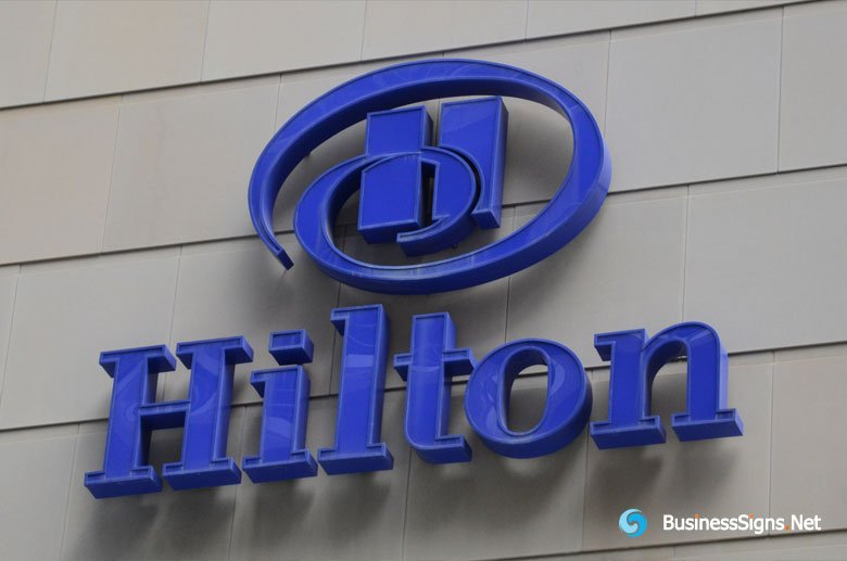 3D LED Front-lit Signs With Painted Stainless Steel Letter Shell For Hilton Hotelsls