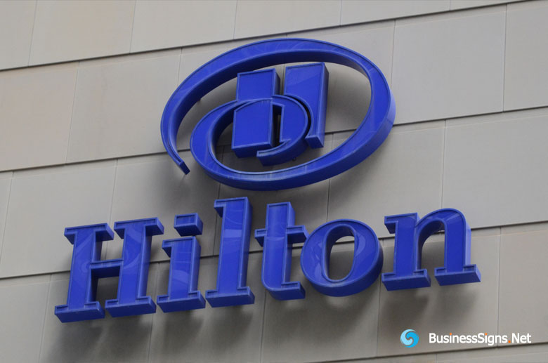 3D LED Front-lit Signs With Painted Stainless Steel Letter Shell For Hilton Hotels