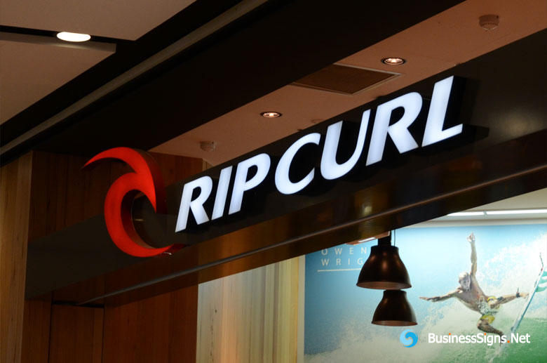 3D LED Front-lit Signs With Painted Stainless Steel Letter Shell For Rip Curl