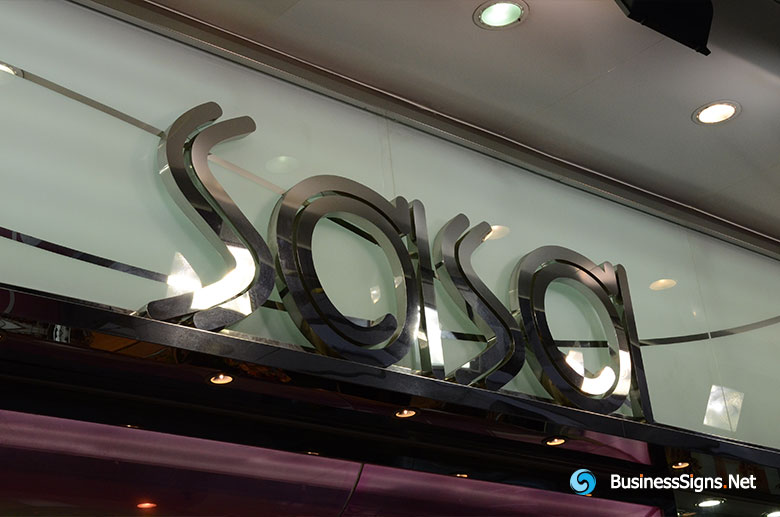 3D Fabricated Mirror Polished Stainless Steel Signs For SASA