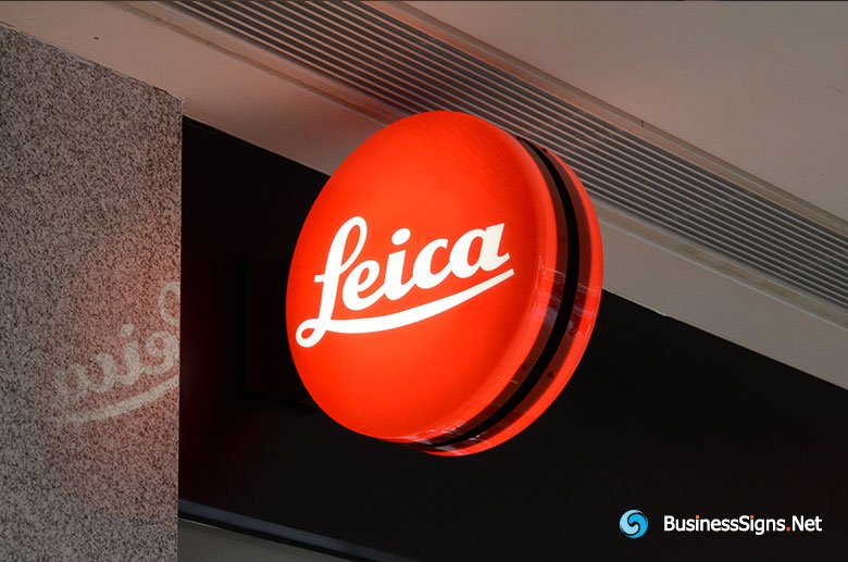 LED Double-sided-lit Vacuum Formed Acrylic Circle Lightbox Signage For Leica