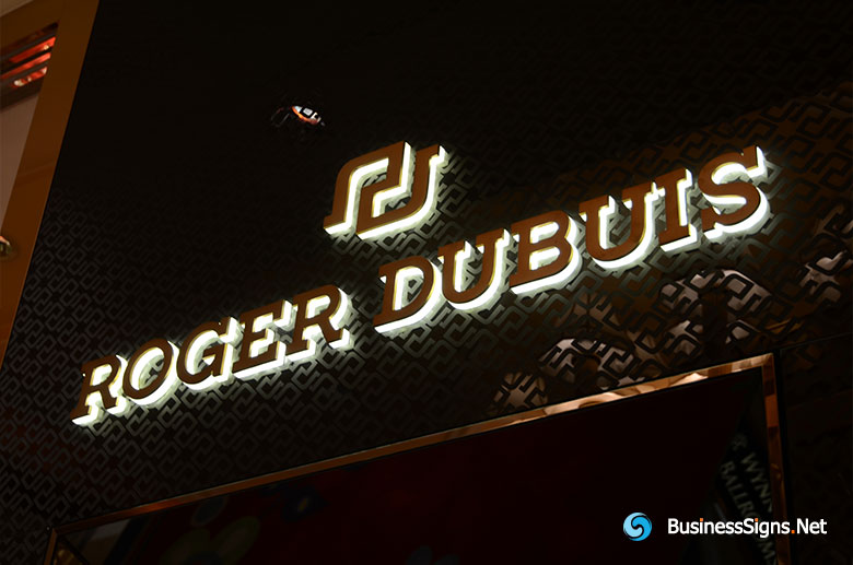 3D LED Side-lit Signs With Brushed Gold Plated Front-panel For Roger Dubuis