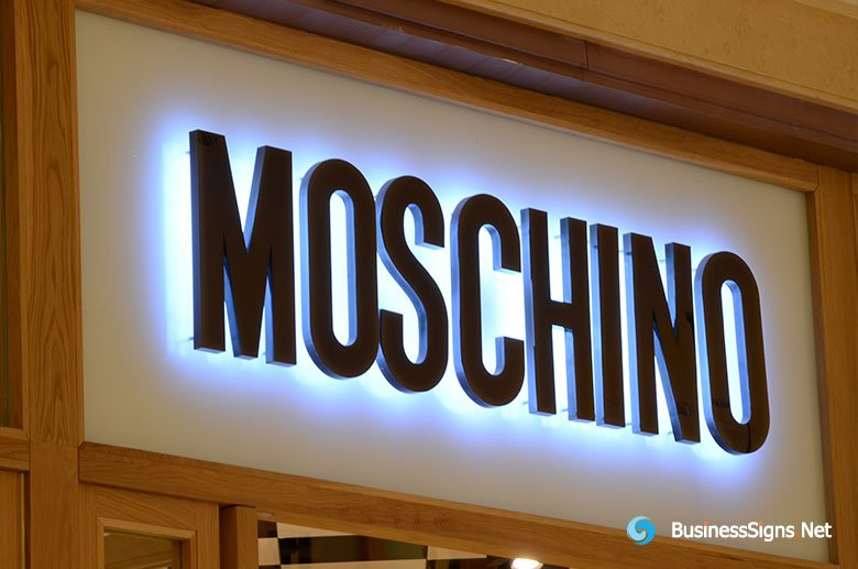 3D LED Backlit Signs With Brushed Titanium Plated Letter Shell For Moschino