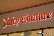 3D LED Backlit Signs With Mirror Polished Gold Plated Letter Shell & 10mm Thickness Acrylic Back Panel For Juicy Couture