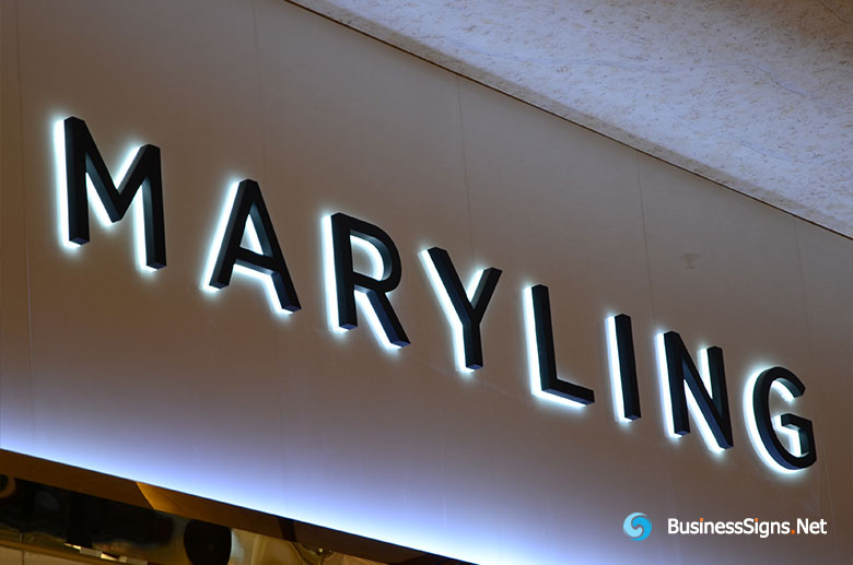 3D LED Backlit Signs With Painted Stainless Steel Letter Shell & 10mm Thickness Acrylic Back Panel For Maryling