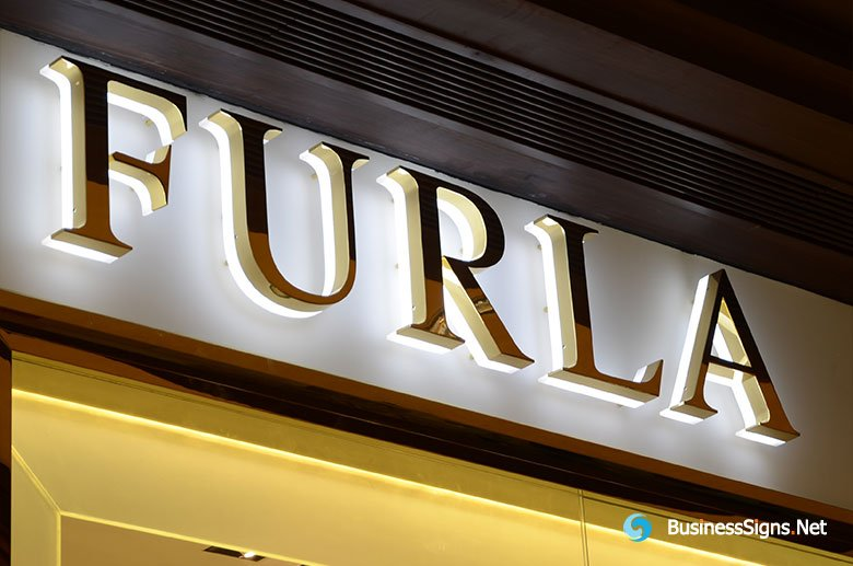3D LED Backlit Signs With Mirror Polished Gold Plated Letter Shell & 20mm Thickness Acrylic Back Panel For Furla