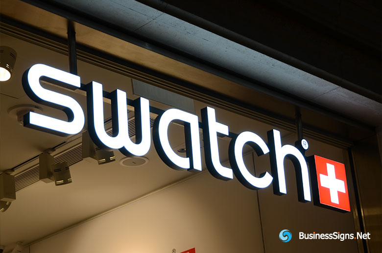 3D LED Front-lit Signs With Painted Stainless Steel Letter Shell For Swatch
