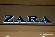 3D LED Backlit Signs With Painted Stainless Steel Letter Shell & 10mm Thickness Acrylic Back Pane For ZARA