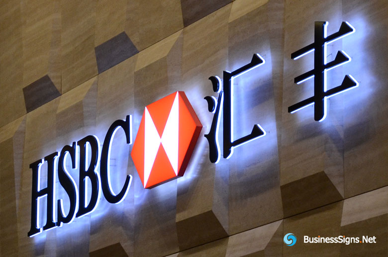 3D LED Backlit Signs With Painted Stainless Steel Letter Shell & 20mm Thickness Acrylic Back Pane For HSBC